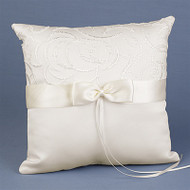 Satin and Swirls Ring Pillow in Ivory