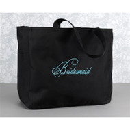 """Bridesmaid"" Tote Bag in Black"