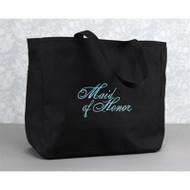 """Maid of Honor"" Tote Bag in Black"