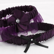 Floral Fantasy Garter Set in Eggplant