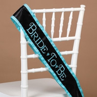 Bride-to-Be Sash in Black with Aqua Trim