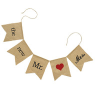 """the new Mr. + Mrs."" Burlap Banner"