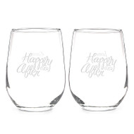 Happily Ever After Stemless Wine Glass Set
