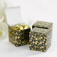 Black and Gold Foil Flourish Favor Boxes (Set of 25)