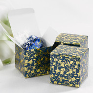 Navy and Gold Foil Flourish Favor Boxes (Set of 25)