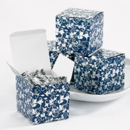 Navy and Silver Foil Flourish Favor Boxes (Set of 25)