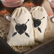 Heart and Arrows Cotton Favor Bag