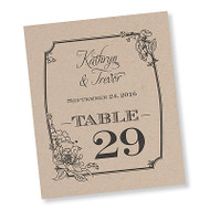 Vintage Floral Table Number Cards (Set of 30)