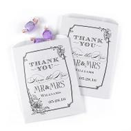 Mr. and Mrs. Vintage Floral White Favor Bags (Set of 50)