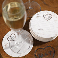 Wood Grain Design Well Wishes Coaster Cards (Set of 25)