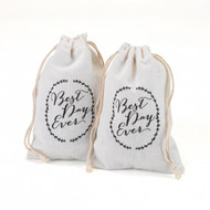 Best Day Ever Rustic Vines Cotton Favor Bag (Sold Individually)