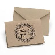Krafty Floral Wreath Thank You Cards (Set of 50)
