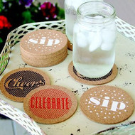"""Celebrate"" Cork Drinking Coasters (Set of 24)"