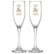 Mr. & Mrs. Golden Elegance Toasting Flute Set