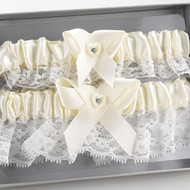 Heart and Rhinestone Garter Set in Ivory