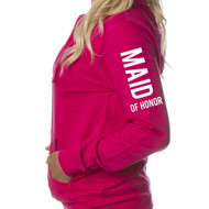 MAID OF HONOR Juniors Lightweight Zip-Up Hoodie {Design on Arm}
