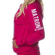 MATRON OF HONOR Juniors Lightweight Zip-Up Hoodie {Design on Arm}