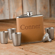 Personalized Hide Stitch Flask & Shot Glass Set