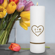 Personalized Heart of Love Rustic Unity Candle