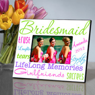 Personalized Bold and Bright Bridesmaid Picture Frame