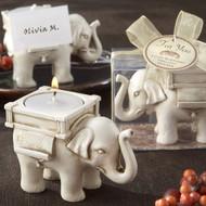 """Lucky Elephant"" Ivory-Finish Tealight Holder"