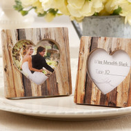 """Rustic Romance"" Faux Wood Heart Place Card Holder Frame"