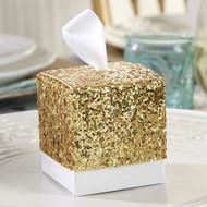 """All That Glitters"" Gold Glitter Favor Box (Set of 24)"