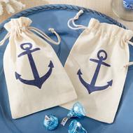 """""""Voyages"""" Anchor Muslin Favor Bag (Set of 12)"""