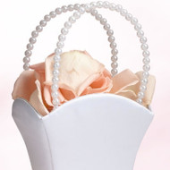 Satin Flower Girl Basket with Pearl Handles