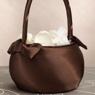Chocolate Brown Satin Round Flower Girl Basket