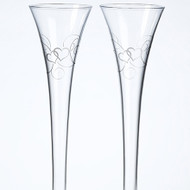 Silver Heart Scroll Toasting Flutes