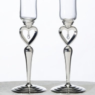 Dangling Jewel Heart Toasting Glass Set