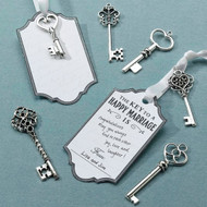 "DIY ""Key to a Happy Marriage"" Silver Key Tag Guest Signing Kit {Set of 24}"