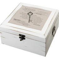 Love Never Fails Christian Versed Antique White Well Wishes Card Box