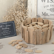 Rustic Wood Chip Holder for an Alternative Guest Book