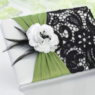 Green and Black Lace Guest Book