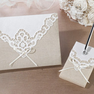 Country Lace Guest Book and Pen Set