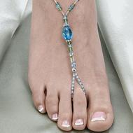 Aqua Beaded Foot Jewelry Set