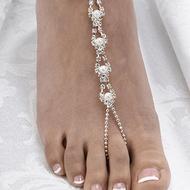 Pearl and Rhinestone Beaded Foot Jewelry Set