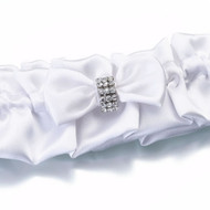 White Satin Garter with Rhinestone Band