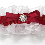 Red and White Rhinestone Garter