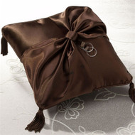 Chocolate Brown Satin Ring Pillow