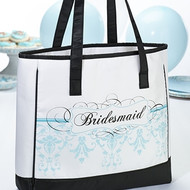 Bridesmaid Tote with Aqua Colored Design