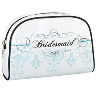 Bridesmaid Cosmetic Bag with Aqua Colored Design