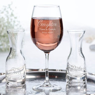 Wine Glass and Carafes Ceremony Set with Personalized Script Last Name