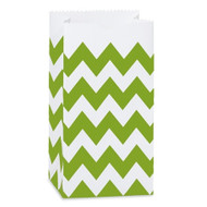 Apple Green Chevron Striped Treat Bag (Set of 25)