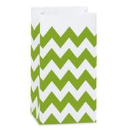 Apple Green Chevron Striped Treat Bag (Set of 25)