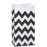 Black Chevron Striped Treat Bag (Set of 25)