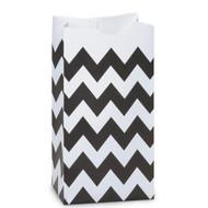 Black Chevron Striped Treat Bag (Set of 25)
