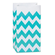 Turquoise Chevron Striped Treat Bag (Set of 25)